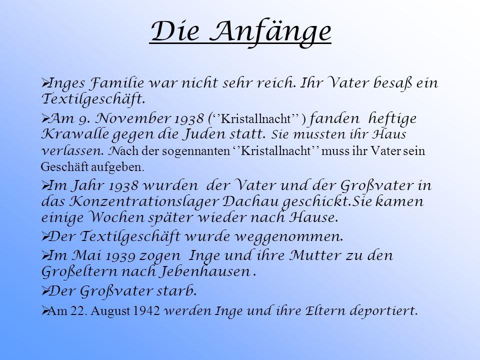 Inge Auerbacher 1934: Geburt von Inge Auerbacher in Kippenheim, einem schwäbischen Dorf Inge Auerbacher wächst als Kind einer jüdischen Familie. Sie i