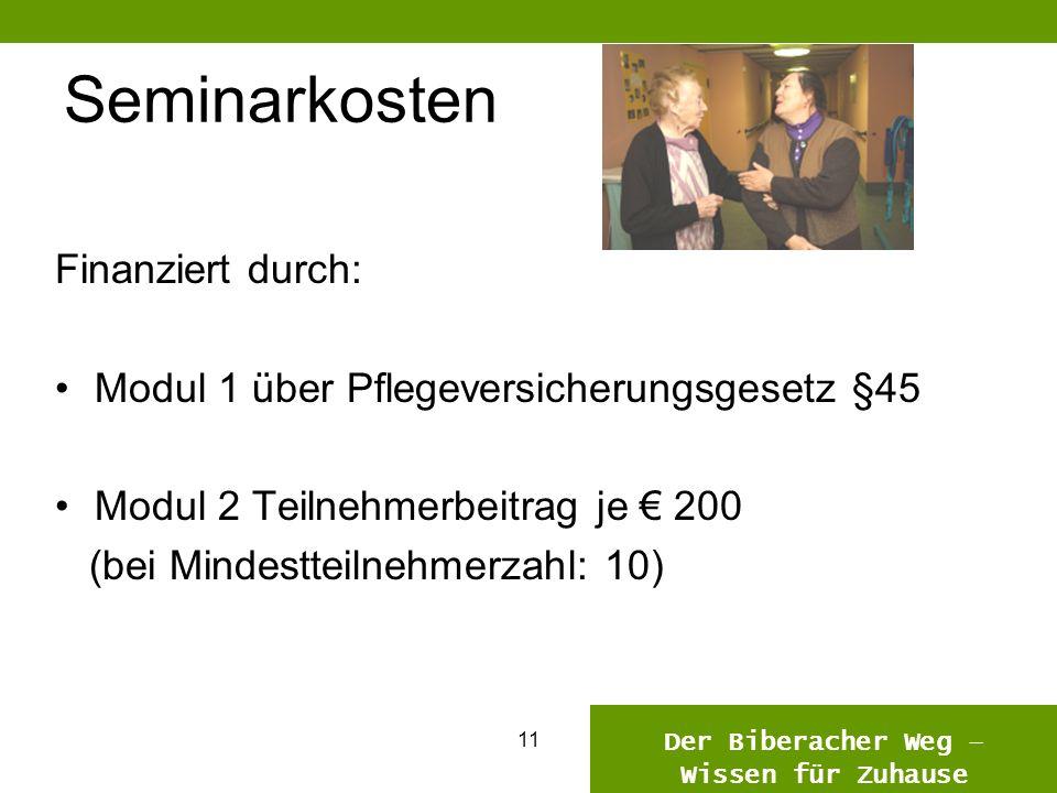 1110 Seminarkosten Finanziert durch: Modul 1 über Pflegeversicherungsgesetz §45 Modul 2 Teilnehmerbeitrag je 200 (bei Mindestteilnehmerzahl: 10) Der Biberacher Weg – Wissen für Zuhause