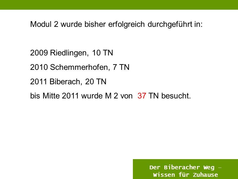 12 Modul 2 wurde bisher erfolgreich durchgeführt in: 2009 Riedlingen, 10 TN 2010 Schemmerhofen, 7 TN 2011 Biberach, 20 TN bis Mitte 2011 wurde M 2 von 37 TN besucht.