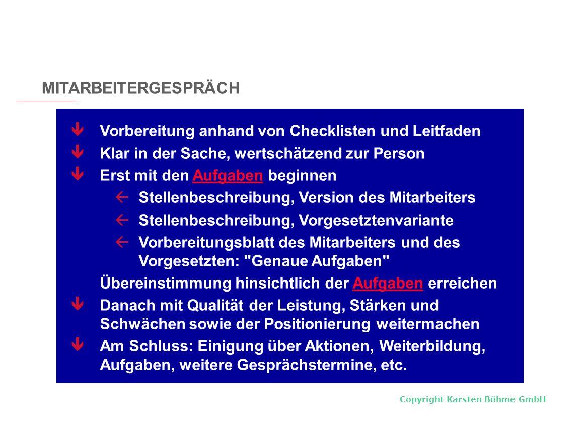 Copyright Karsten Böhme GmbH Vorbereitung anhand von Checklisten und Leitfaden Klar in der Sache, wertschätzend zur Person Erst mit den Aufgaben begin