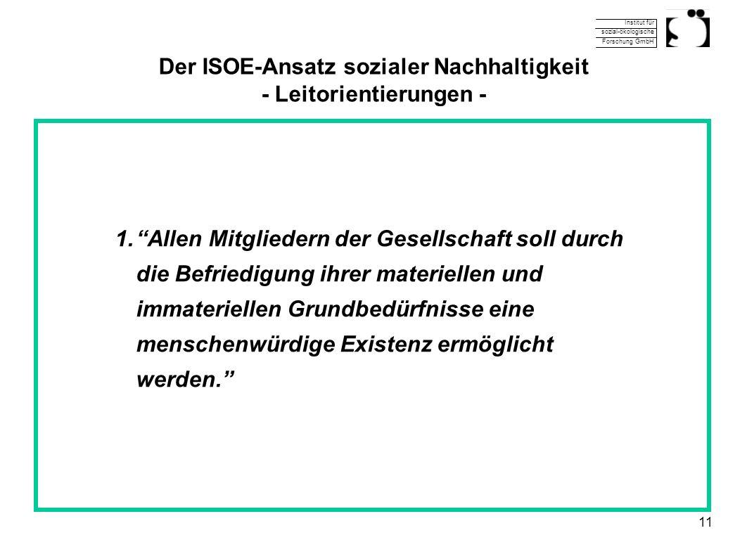Institut für sozial-ökologische Forschung GmbH 11 Der ISOE-Ansatz sozialer Nachhaltigkeit - Leitorientierungen - 1.Allen Mitgliedern der Gesellschaft