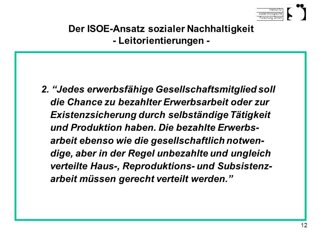 Institut für sozial-ökologische Forschung GmbH 12 Der ISOE-Ansatz sozialer Nachhaltigkeit - Leitorientierungen - 2. Jedes erwerbsfähige Gesellschaftsm