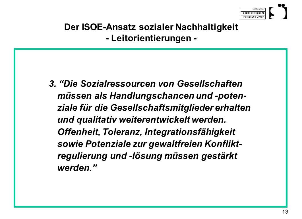 Institut für sozial-ökologische Forschung GmbH 13 Der ISOE-Ansatz sozialer Nachhaltigkeit - Leitorientierungen - 3. Die Sozialressourcen von Gesellsch