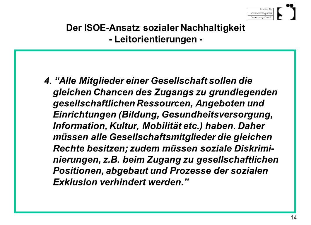 Institut für sozial-ökologische Forschung GmbH 14 Der ISOE-Ansatz sozialer Nachhaltigkeit - Leitorientierungen - 4. Alle Mitglieder einer Gesellschaft