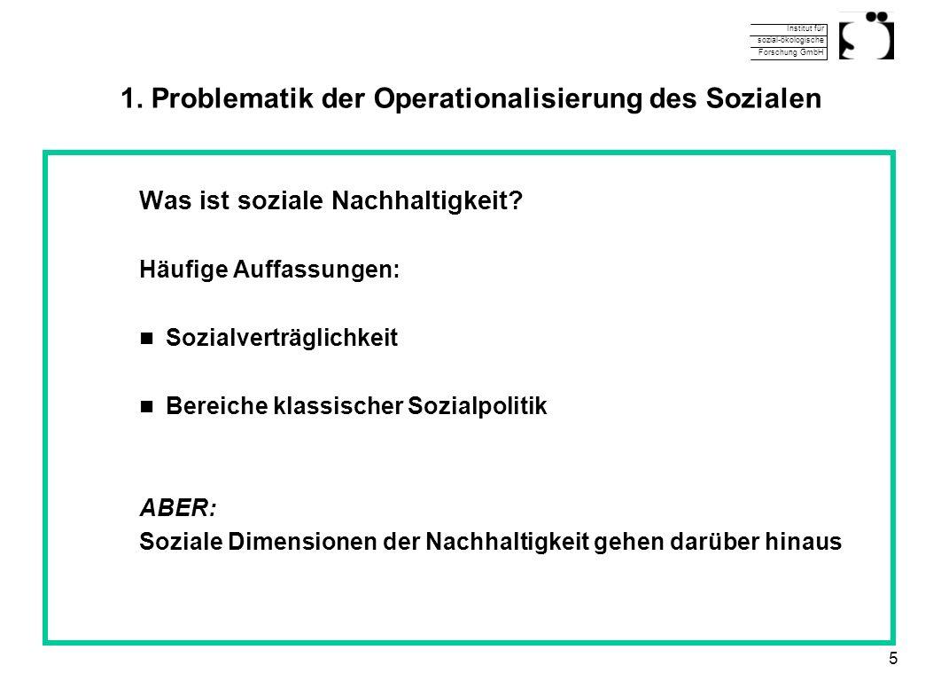 Institut für sozial-ökologische Forschung GmbH 5 1. Problematik der Operationalisierung des Sozialen Was ist soziale Nachhaltigkeit? Häufige Auffassun