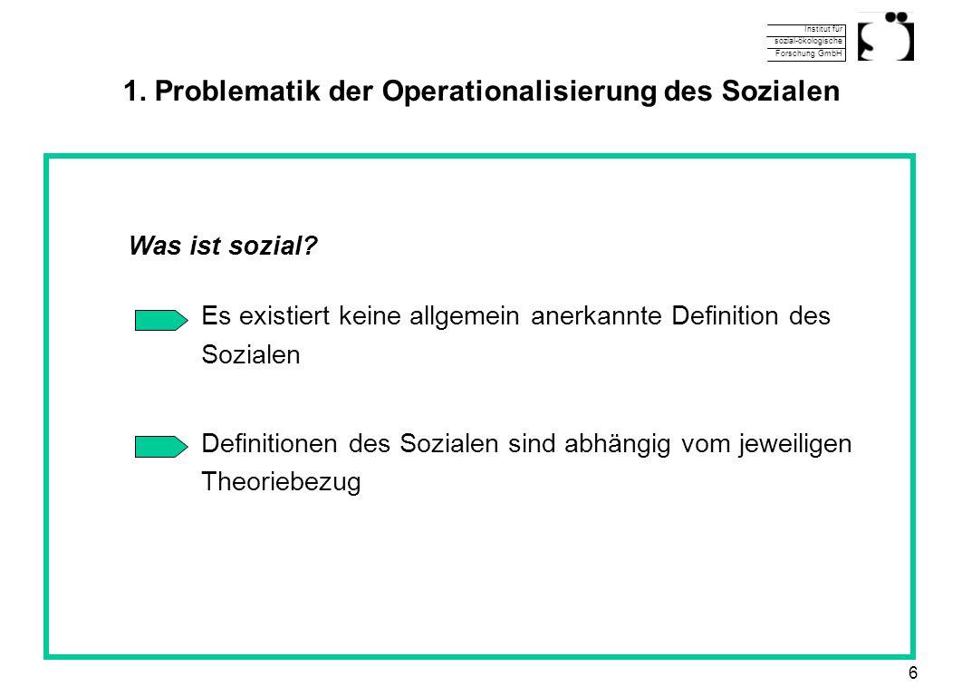 Institut für sozial-ökologische Forschung GmbH 6 1. Problematik der Operationalisierung des Sozialen Was ist sozial? Es existiert keine allgemein aner