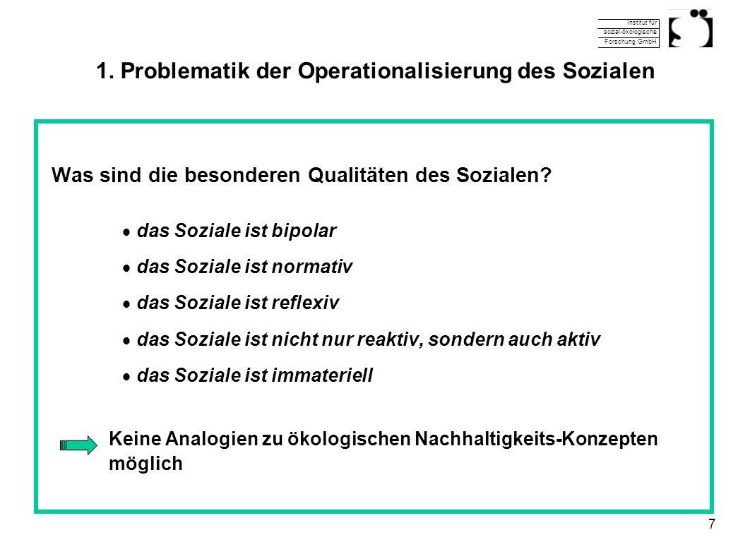 Institut für sozial-ökologische Forschung GmbH 7 1. Problematik der Operationalisierung des Sozialen Was sind die besonderen Qualitäten des Sozialen?