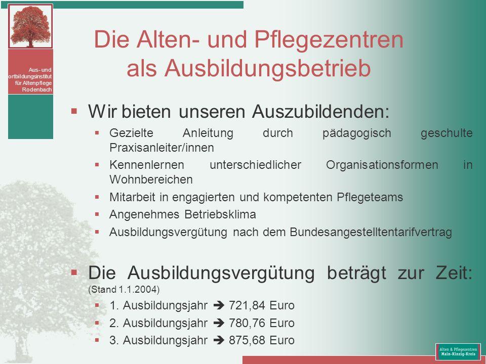 Aus- und Fortbildungsinstitut für Altenpflege Rodenbach Die Alten- und Pflegezentren als Ausbildungsbetrieb Wir bieten unseren Auszubildenden: Gezielt
