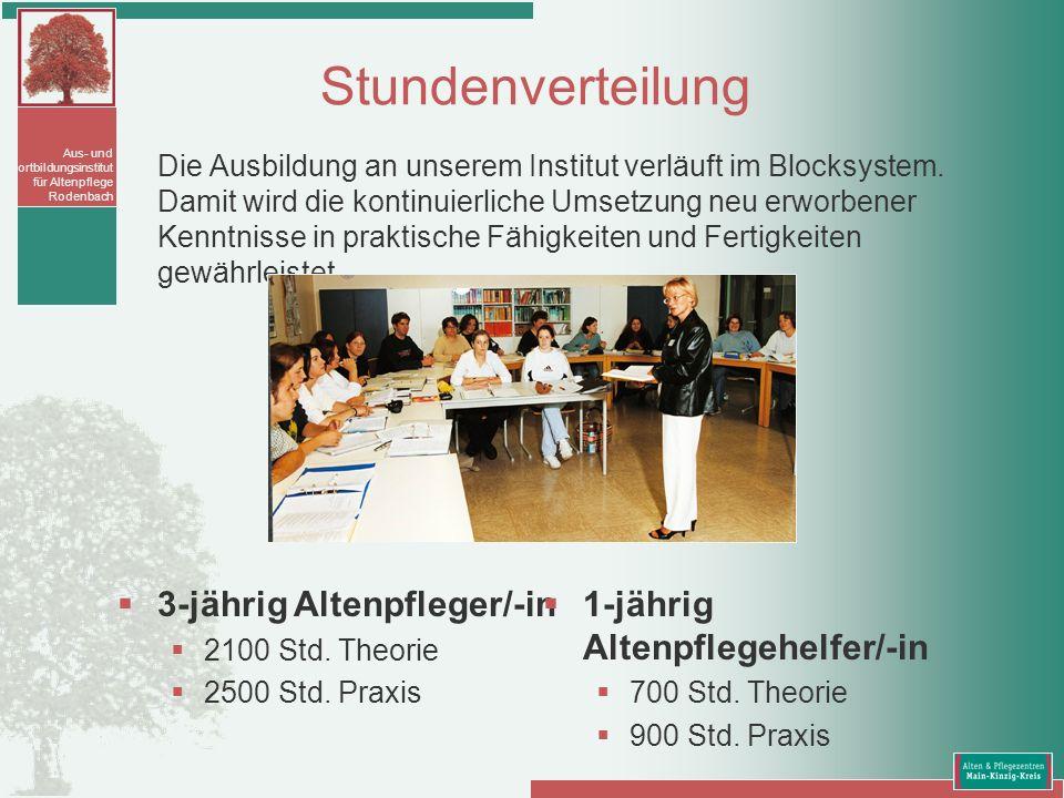 Aus- und Fortbildungsinstitut für Altenpflege Rodenbach Stundenverteilung Die Ausbildung an unserem Institut verläuft im Blocksystem. Damit wird die k
