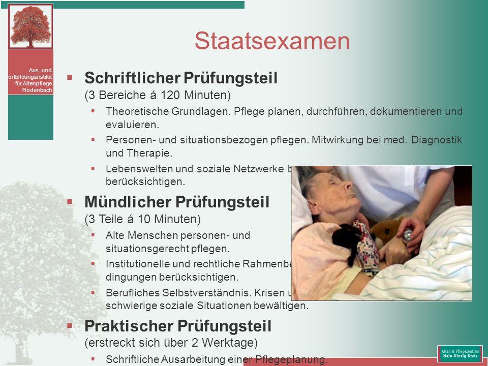 Aus- und Fortbildungsinstitut für Altenpflege Rodenbach Schriftlicher Prüfungsteil (3 Bereiche á 120 Minuten) Theoretische Grundlagen. Pflege planen,