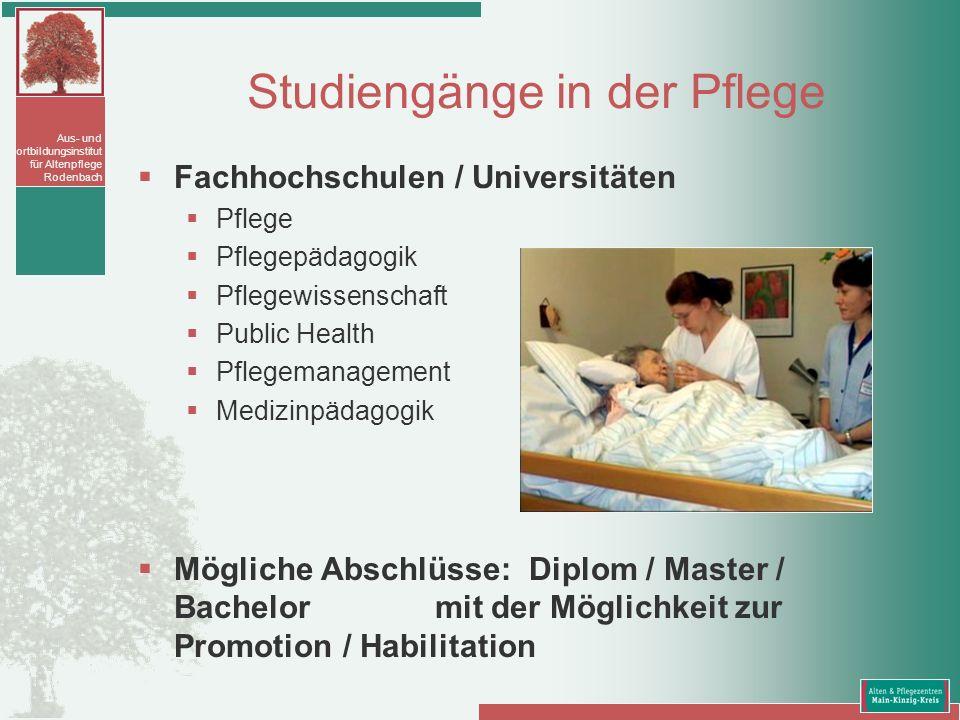 Aus- und Fortbildungsinstitut für Altenpflege Rodenbach Studiengänge in der Pflege Fachhochschulen / Universitäten Pflege Pflegepädagogik Pflegewissen