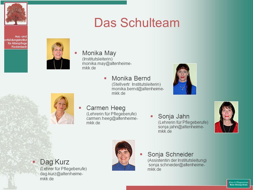 Aus- und Fortbildungsinstitut für Altenpflege Rodenbach Das Schulteam Dag Kurz (Lehrer für Pflegeberufe) dag.kurz@altenheime- mkk.de Monika May (Insti