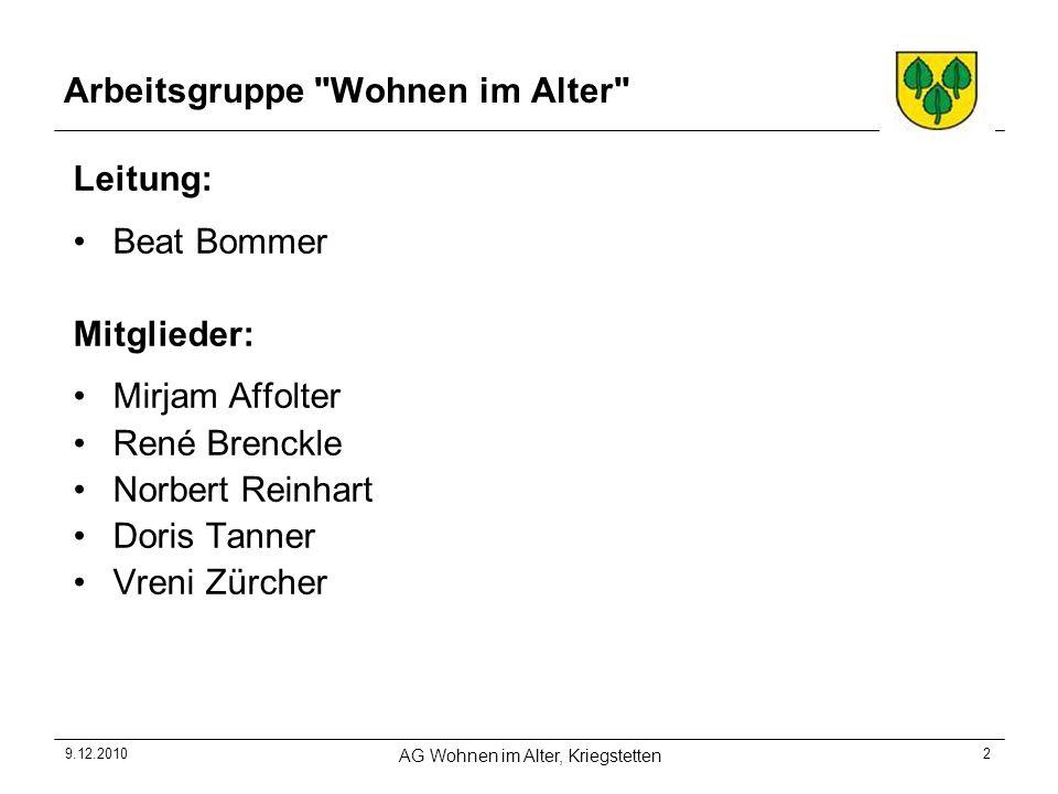 9.12.2010 AG Wohnen im Alter, Kriegstetten 13 8.