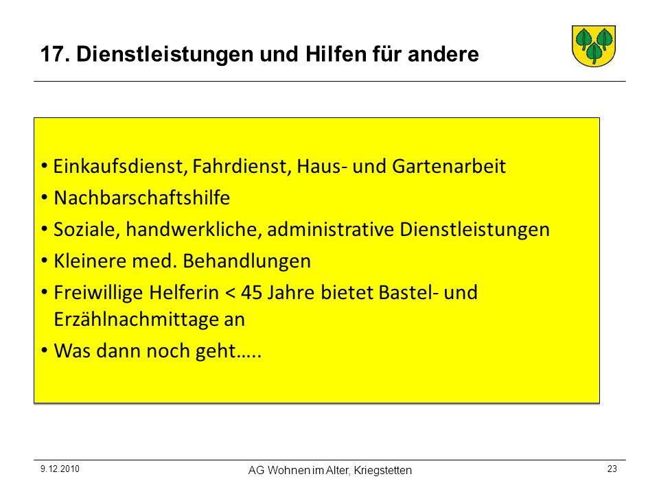 9.12.2010 AG Wohnen im Alter, Kriegstetten 23 17.