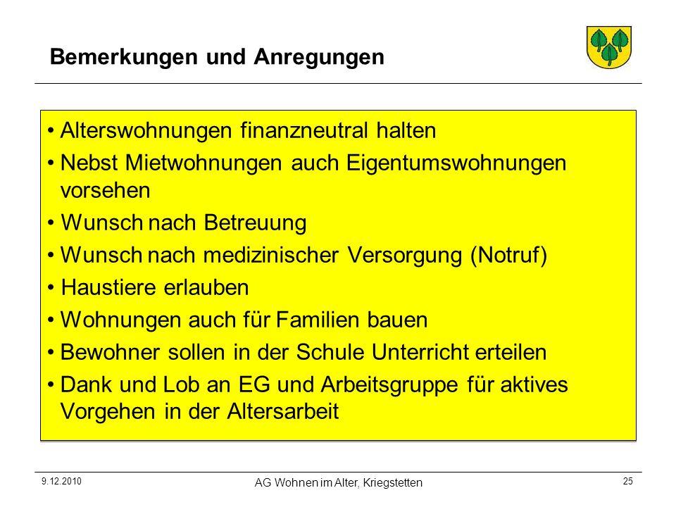 9.12.2010 AG Wohnen im Alter, Kriegstetten 25 Bemerkungen und Anregungen Alterswohnungen finanzneutral halten Nebst Mietwohnungen auch Eigentumswohnun