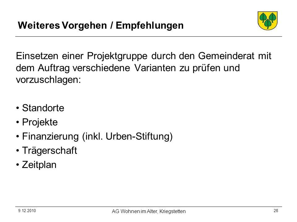 9.12.2010 AG Wohnen im Alter, Kriegstetten 28 Weiteres Vorgehen / Empfehlungen Einsetzen einer Projektgruppe durch den Gemeinderat mit dem Auftrag ver