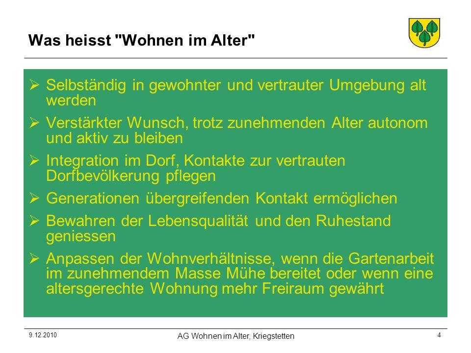 9.12.2010 AG Wohnen im Alter, Kriegstetten 15 10.