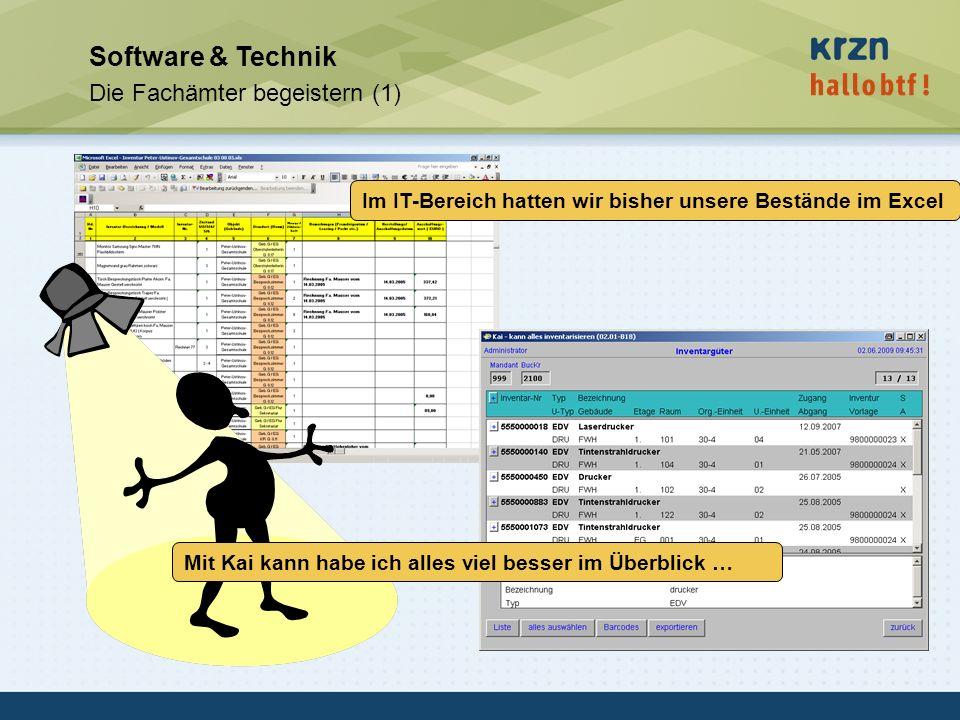 hallobtf! gmbh / Kai-Inventarisierungstag 2010 / Seite 35 Software & Technik Die Fachämter begeistern (1) Im IT-Bereich hatten wir bisher unsere Bestä