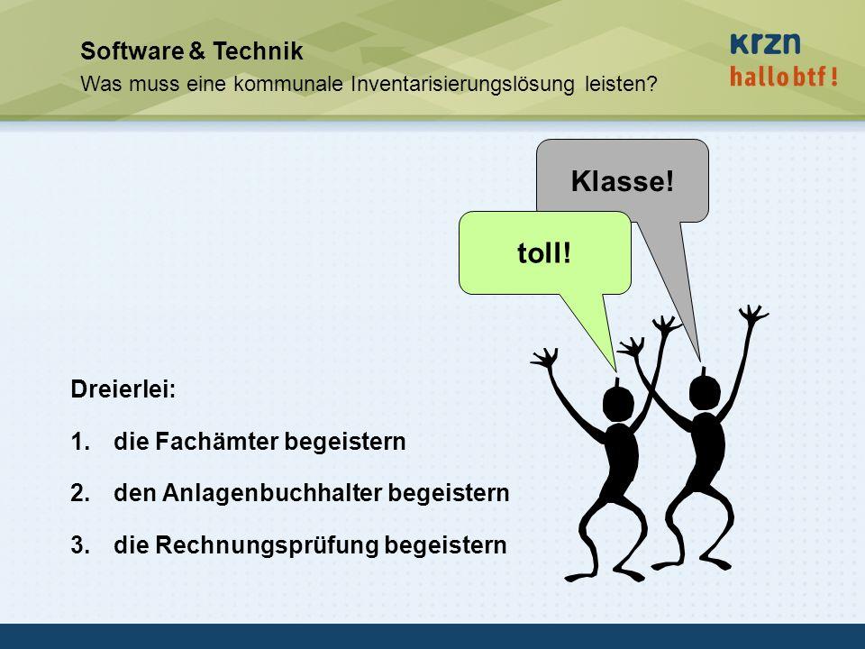 hallobtf! gmbh / Kai-Inventarisierungstag 2010 / Seite 41 Software & Technik Was muss eine kommunale Inventarisierungslösung leisten? Dreierlei: 1.die