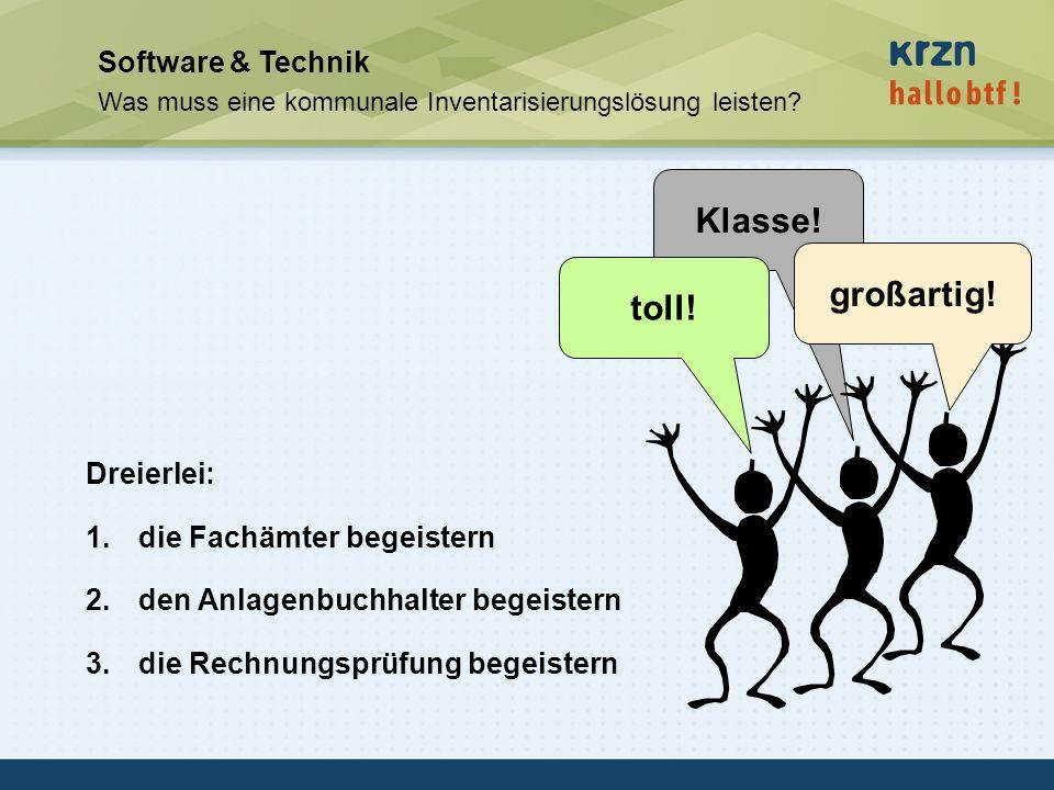 hallobtf! gmbh / Kai-Inventarisierungstag 2010 / Seite 44 Software & Technik Was muss eine kommunale Inventarisierungslösung leisten? Dreierlei: 1.die
