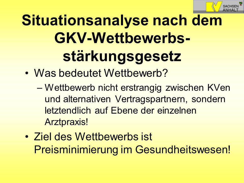 Situationsanalyse nach dem GKV-Wettbewerbs- stärkungsgesetz Was bedeutet Wettbewerb? –Wettbewerb nicht erstrangig zwischen KVen und alternativen Vertr