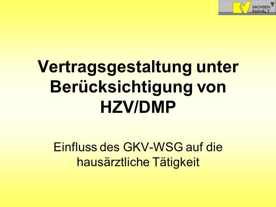 Vertragsgestaltung unter Berücksichtigung von HZV/DMP Einfluss des GKV-WSG auf die hausärztliche Tätigkeit