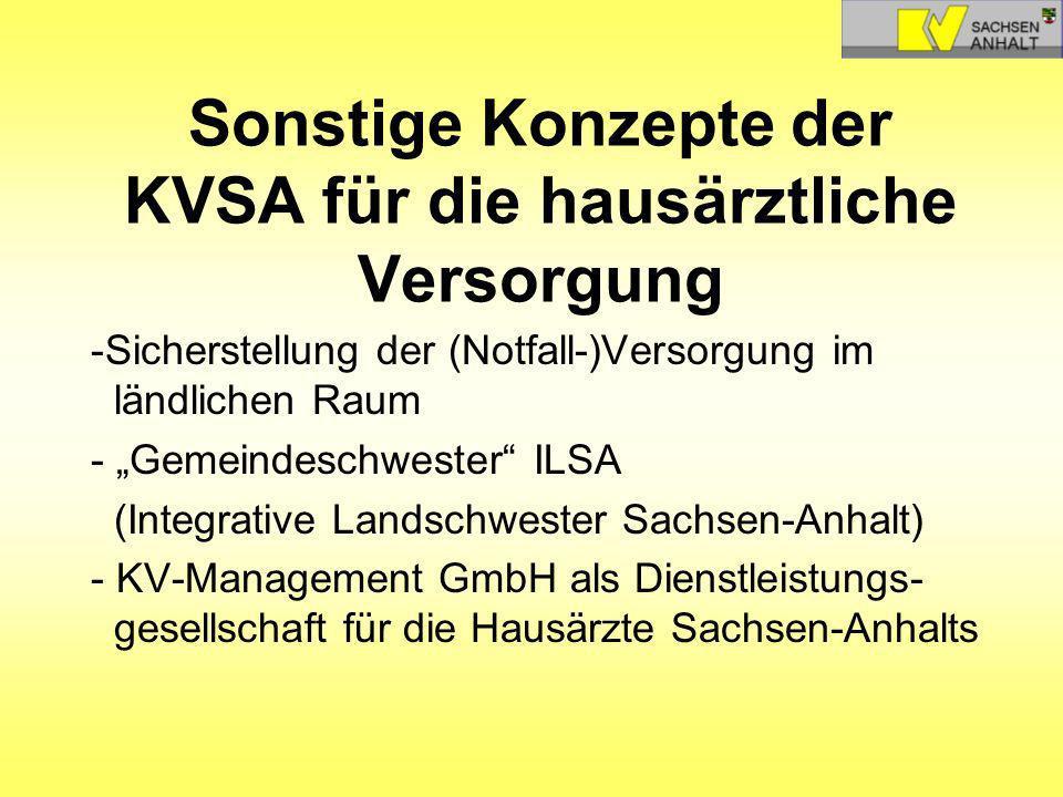 Sonstige Konzepte der KVSA für die hausärztliche Versorgung -Sicherstellung der (Notfall-)Versorgung im ländlichen Raum - Gemeindeschwester ILSA (Inte