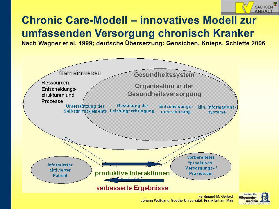 Chronic Care-Modell – innovatives Modell zur umfassenden Versorgung chronisch Kranker Nach Wagner et al. 1999; deutsche Übersetzung: Gensichen, Knieps