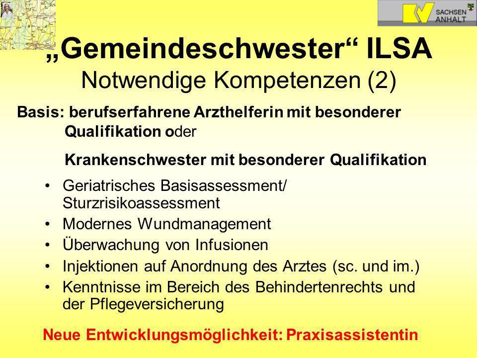 Gemeindeschwester ILSA Notwendige Kompetenzen (2) Geriatrisches Basisassessment/ Sturzrisikoassessment Modernes Wundmanagement Überwachung von Infusio