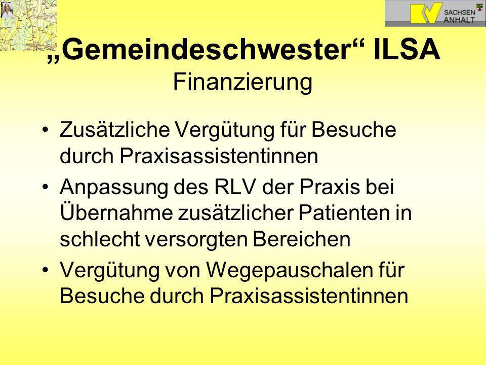Gemeindeschwester ILSA Finanzierung Zusätzliche Vergütung für Besuche durch Praxisassistentinnen Anpassung des RLV der Praxis bei Übernahme zusätzlich