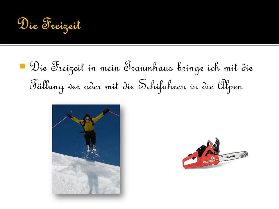 Die Freizeit in mein Traumhaus bringe ich mit die Fällung ver oder mit die Schifahren in die Alpen