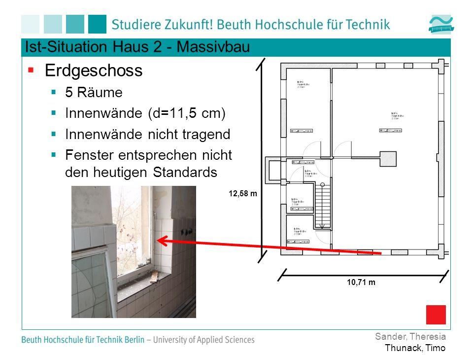 Ist-Situation Haus 2 - Massivbau Erdgeschoss 5 Räume Innenwände (d=11,5 cm) Innenwände nicht tragend Fenster entsprechen nicht den heutigen Standards Sander, Theresia Thunack, Timo 12,58 m 10,71 m