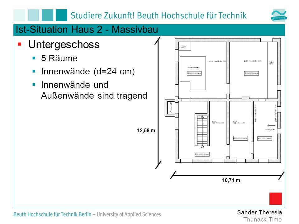 Ist-Situation Haus 2 - Massivbau Untergeschoss 5 Räume Innenwände (d=24 cm) Innenwände und Außenwände sind tragend Sander, Theresia Thunack, Timo 12,58 m 10,71 m