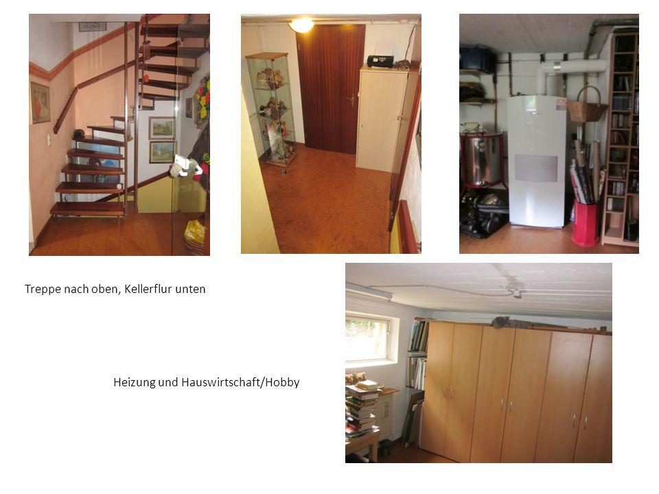 Treppe nach oben, Kellerflur unten Heizung und Hauswirtschaft/Hobby