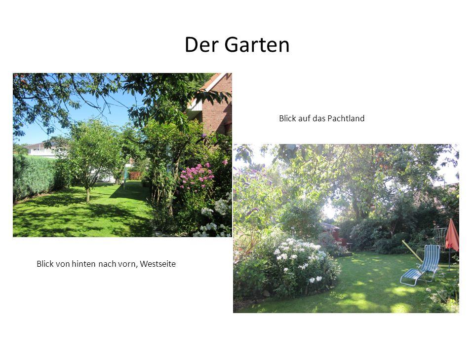 Der Garten Blick von hinten nach vorn, Westseite Blick auf das Pachtland