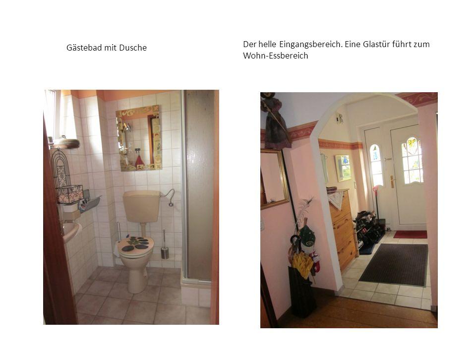 Der helle Eingangsbereich. Eine Glastür führt zum Wohn-Essbereich Gästebad mit Dusche