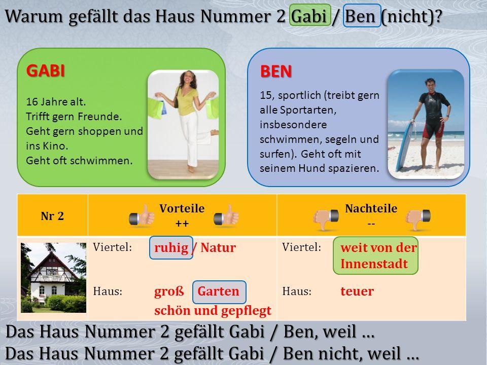 Nr 2 Vorteile ++ Nachteile -- Viertel: Haus: Viertel: Haus: groß schön und gepflegt teuer GABI 16 Jahre alt.