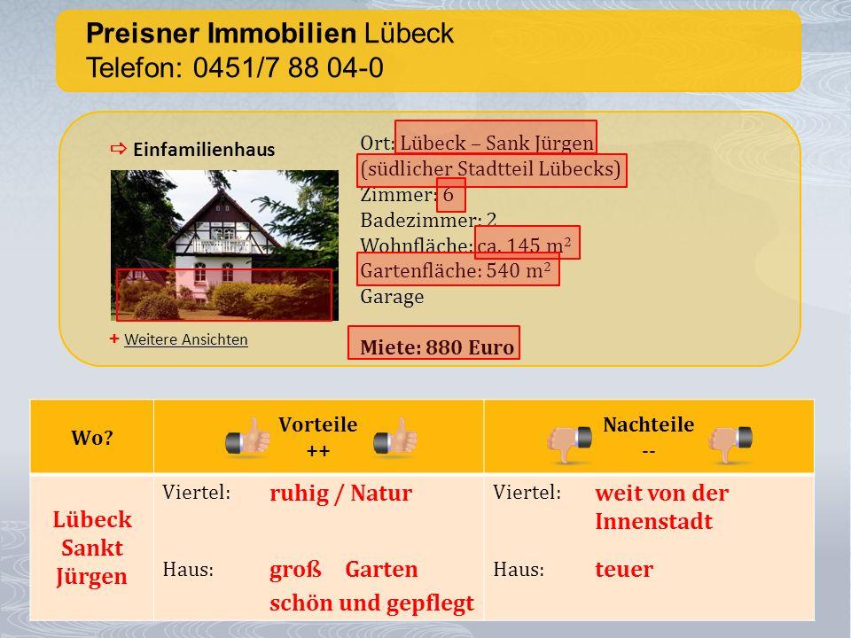 Preisner Immobilien Lübeck Telefon: 0451/7 88 04-0 + Weitere Ansichten Einfamilienhaus Ort: Lübeck – Sank Jürgen (südlicher Stadtteil Lübecks) Zimmer: 6 Badezimmer: 2 Wohnfläche: ca.