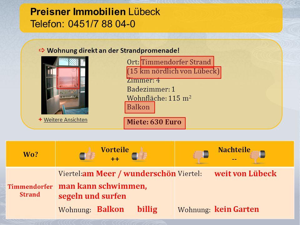 Preisner Immobilien Lübeck Telefon: 0451/7 88 04-0 + Weitere Ansichten Wohnung direkt an der Strandpromenade.