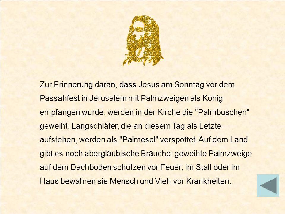 Zur Erinnerung daran, dass Jesus am Sonntag vor dem Passahfest in Jerusalem mit Palmzweigen als König empfangen wurde, werden in der Kirche die