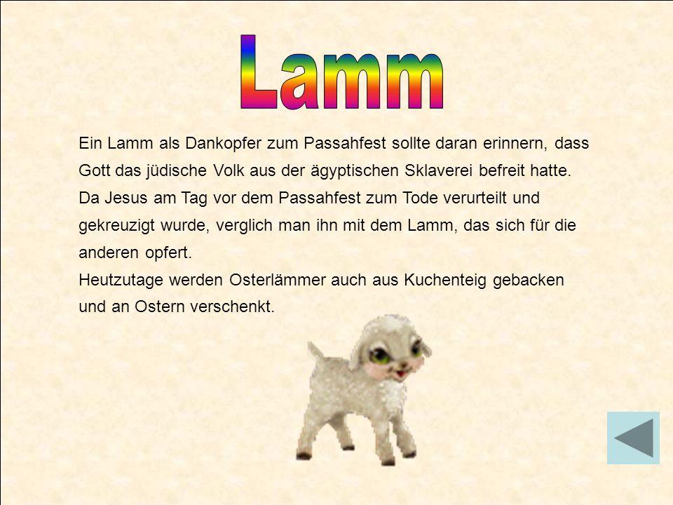 Ein Lamm als Dankopfer zum Passahfest sollte daran erinnern, dass Gott das jüdische Volk aus der ägyptischen Sklaverei befreit hatte. Da Jesus am Tag