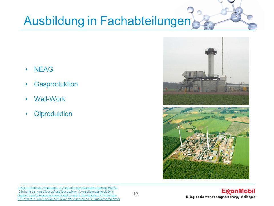 13 Ausbildung in Fachabteilungen NEAG Gasproduktion Well-Work Ölproduktion 1.ExxonMobil als Arbeitgeber 2.Ausbildungsvoraussetzungen bei EMPG 3.Inhalt