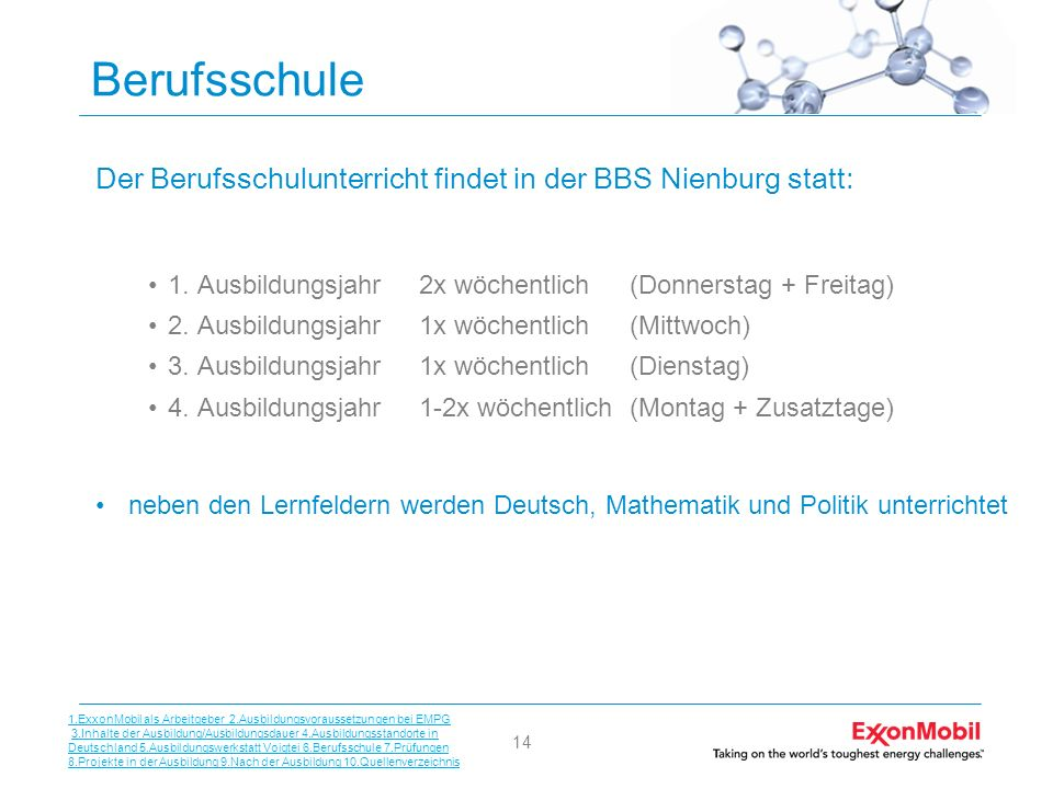 14 Berufsschule Der Berufsschulunterricht findet in der BBS Nienburg statt: 1. Ausbildungsjahr 2x wöchentlich (Donnerstag + Freitag) 2. Ausbildungsjah