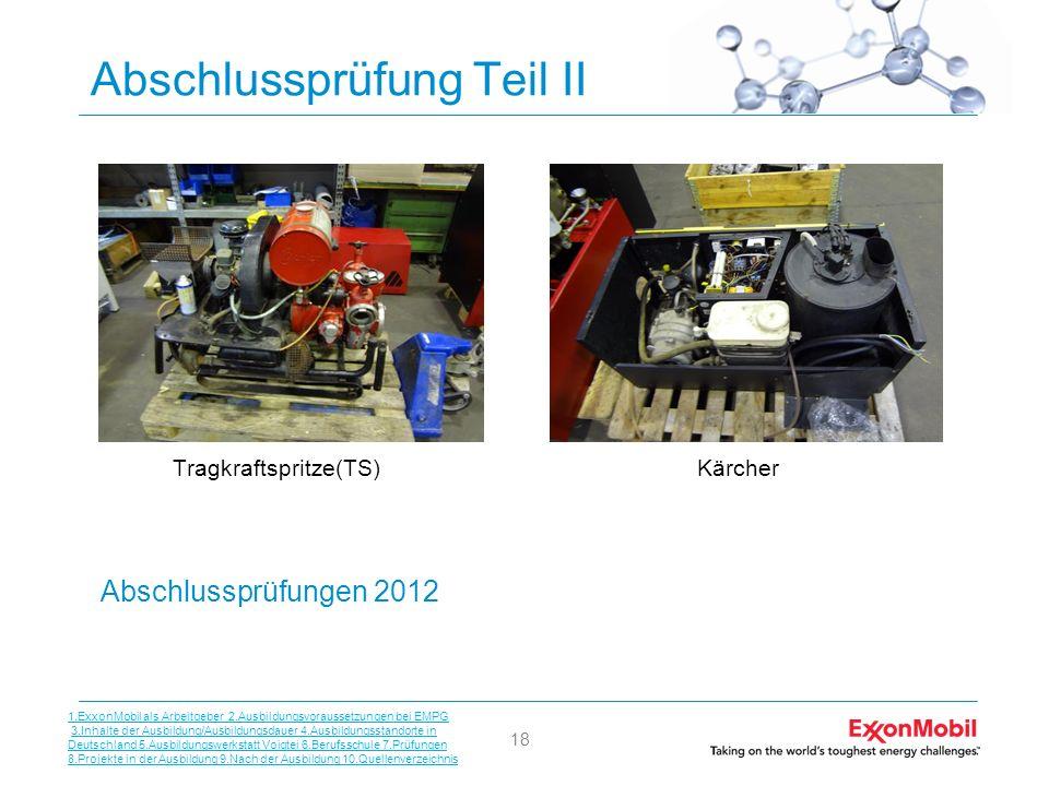 18 Abschlussprüfung Teil II Tragkraftspritze(TS)Kärcher Abschlussprüfungen 2012 1.ExxonMobil als Arbeitgeber 2.Ausbildungsvoraussetzungen bei EMPG 3.I