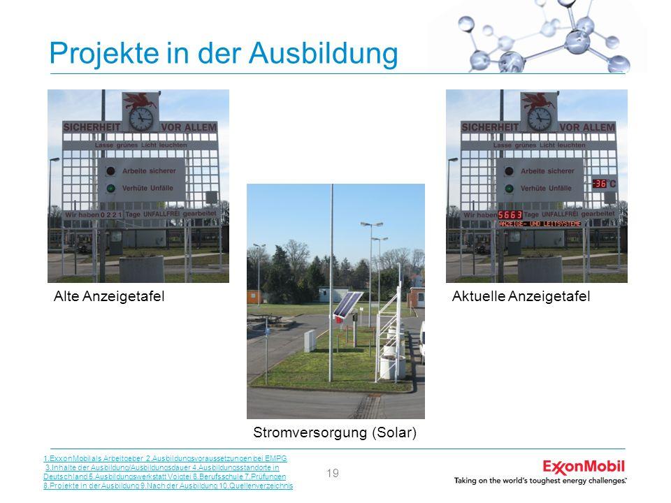 19 Projekte in der Ausbildung Alte AnzeigetafelAktuelle Anzeigetafel Stromversorgung (Solar) 1.ExxonMobil als Arbeitgeber 2.Ausbildungsvoraussetzungen