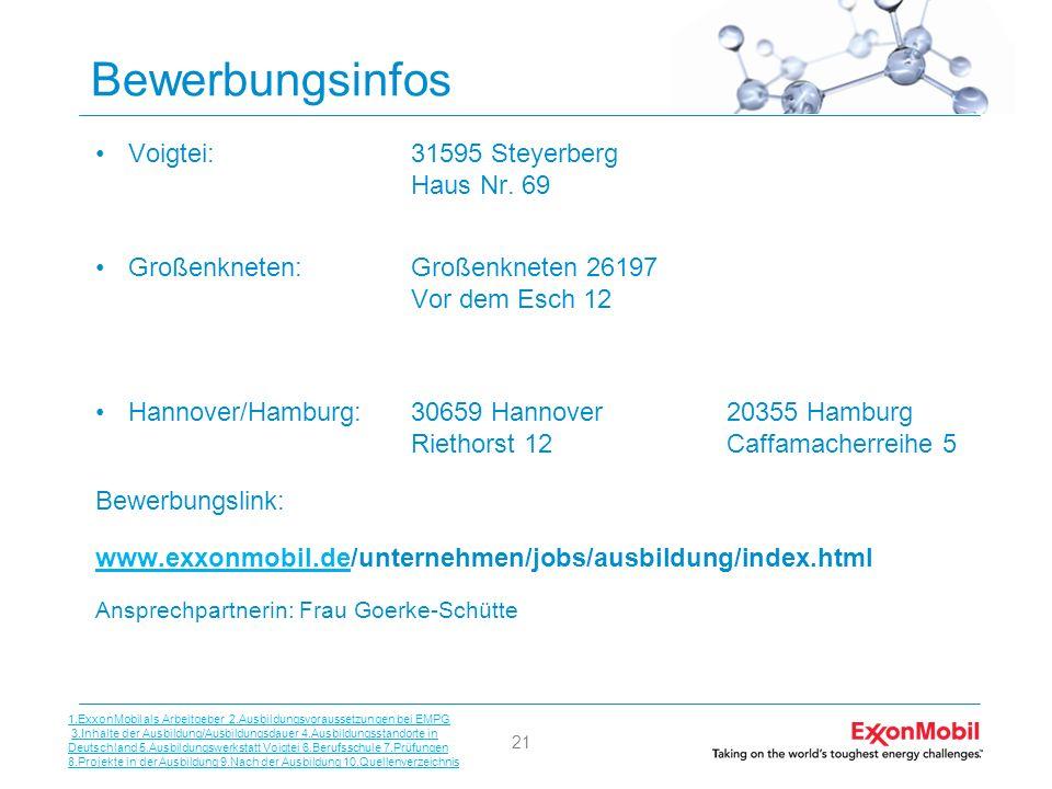 21 Bewerbungsinfos Voigtei:31595 Steyerberg Haus Nr. 69 Großenkneten:Großenkneten 26197 Vor dem Esch 12 Hannover/Hamburg:30659 Hannover20355 Hamburg R