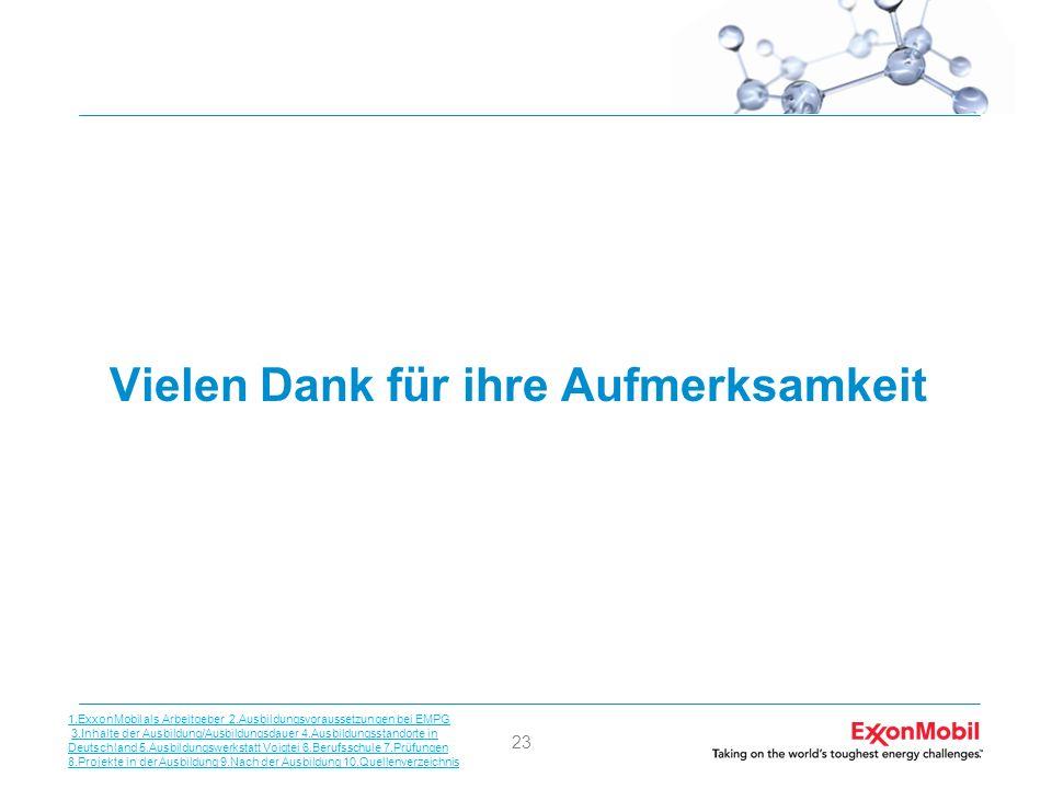 23 Vielen Dank für ihre Aufmerksamkeit 1.ExxonMobil als Arbeitgeber 2.Ausbildungsvoraussetzungen bei EMPG 3.Inhalte der Ausbildung/Ausbildungsdauer 4.