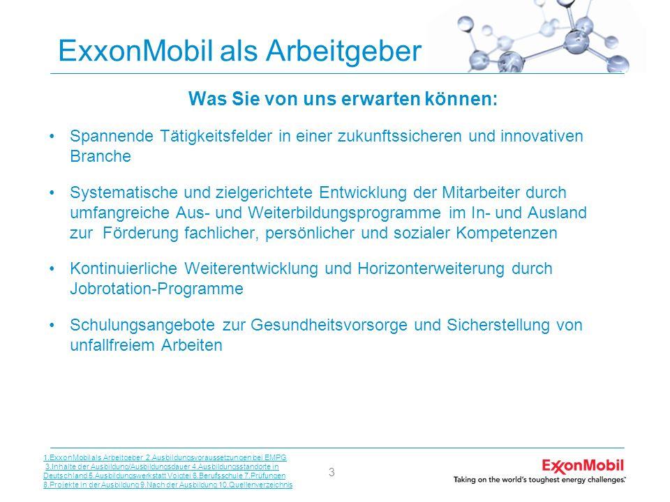 3 ExxonMobil als Arbeitgeber Was Sie von uns erwarten können: Spannende Tätigkeitsfelder in einer zukunftssicheren und innovativen Branche Systematisc