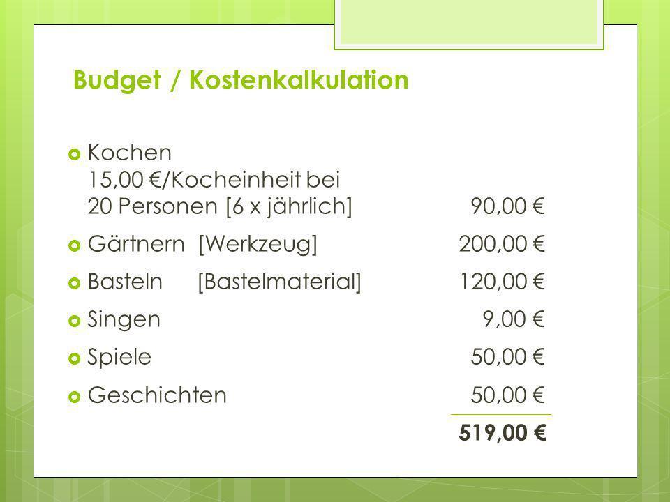 Budget / Kostenkalkulation Kochen 15,00 /Kocheinheit bei 20 Personen [6 x jährlich] 90,00 Gärtnern [Werkzeug] 200,00 Basteln[Bastelmaterial] 120,00 Si
