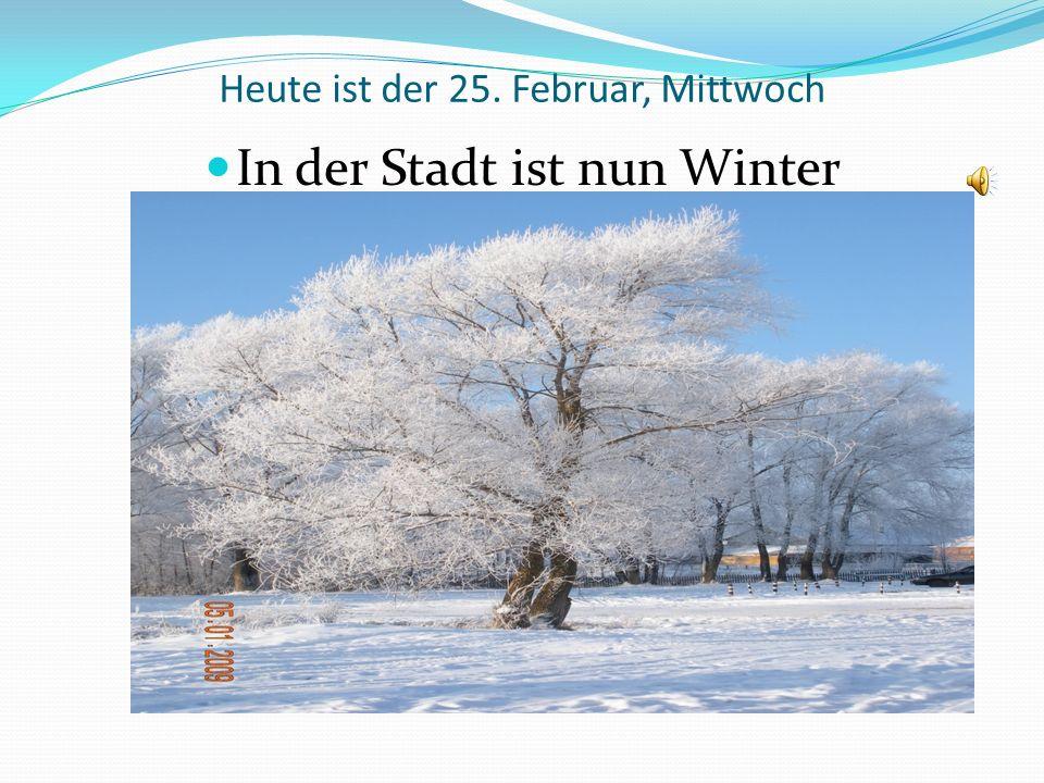 Heute ist der 25. Februar, Mittwoch In der Stadt ist nun Winter